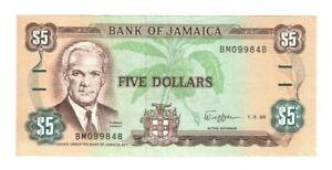 1989 Jamaica 5 Dollars  Banknote a-unc   P70 c
