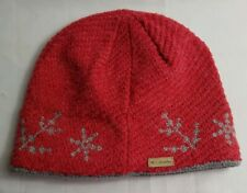 Columbia Sportswear Red Grey Snowflake Winter Warm Knit Beanie Hat