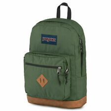 NWT JANSPORT City View Backpack Leather Bottom Muted Green Free Shipping