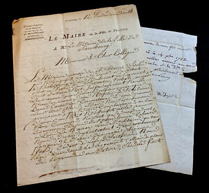 LETTER TO THE MAYOR OF PHALSBOURG FROM THE MAYOR OF SAREBOURGH  1783, 1806.