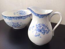 Vintage White Porcelain Blue Floral Gilt Cream Milk Jug Pitcher & Matching Bowl