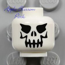 NEW Lego Skeleton Skull MINIFIG HEAD - White Halloween Monster w/Black Evil Eyes