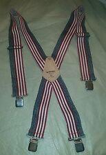 Men's American Flag Patriotic Suspenders Husky Top Grain Heavy Duty Adjustable