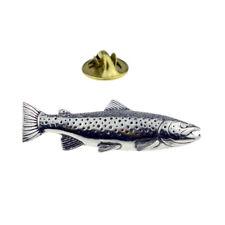 Brown Trout Fish Pewter Lapel Pin Badge XTSPBF44