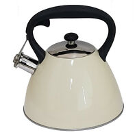 VOCHE® 3.0L METALLIC CREAM STAINLESS STEEL WHISTLING KETTLE GAS & ELECTRIC HOBS
