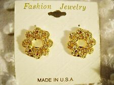 NEW SPARKLY RHINESTONE STUDDED SCALLOPED GOLD TONE CLIP-ON EARRINGS