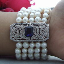 24k gold plated Cz Connector 5Strand White Round Freshwater Pearl Bracelet