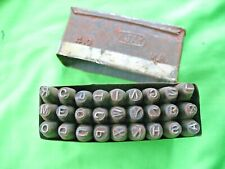 Metal boxed set of 27 old vintage industrial AJAY branded 4mm Letter Punches + &