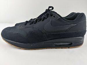 Nike Air Max 1 Premium Triple Black Gum Nubuck Men US 15 Sneaker AH8145-007