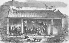 CHINA. Opium Wars. Mess-Room, North Wantong, antique print, 1858