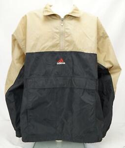 Adidas Logo Spellout Windbreaker Pullover Jacket Black/Tan Men's XXL