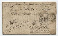 1856 transatlantic stampless Germany to New York  TF via france [H.422]