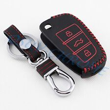 Leather Key Case Ring Holder Cover Trim For Audi A1 A3 S3 Q3 A6 Q7 Accessories