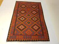 8'6 x 5'7  Handmade Afghan Wool Kilim Carpet Oriental Kelim Flat Area Rug #6212