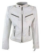 Ladies Womens Real Leather Vintage Slim Fit Biker Leather Jacket