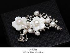 Broche Perle de Culture d`eau Douce Nacre Fleur Branche Arbre Cristal TZ3