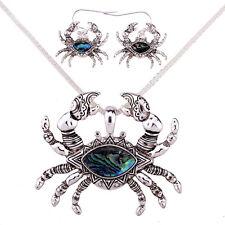 "Crab Fashionable Necklace & Earrings Set - Abalone Paua Shell - 18"" Chain"