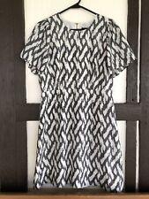 J Crew Womens 8 Silk Dress Short Sleeve A Line Off White Charcoal Keyhole