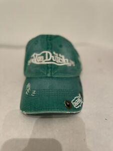 Von Dutch Adjustable Baseball Cap Hat Green Distressed Kustommade Originals