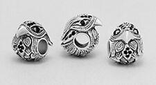 Eagle Falcon Hawk Bird Horus Bead Charm Pendant Bracelet Solid Sterling Silver