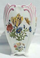 """Large Vintage 12"""" RB Bernarda PORTUGAL Porcelain Floral Butterfly Flower Vase"""