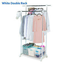 Portable Double Adjustable Heavy Duty Clothes Hanger Rolling Garment Rack NEW