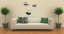 Wall Stickers Vinyl Decal Women's Beautiful Face Eyes Lips ig1424