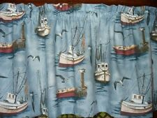 Nautical Ships Row Fishing Boats ocean water sea  fabric curtain topper Valance