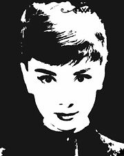 audrey hepburn  poster black white photo art  print stencil PAINTING vintage