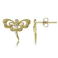 Gold Tone over Sterling Silver Cubic Zirconia Dragonfly Stud Earrings