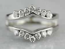 Band Ring 14k White Gold Finish 0.50 Ct Round Diamond Solitaire Enhancer Wedding