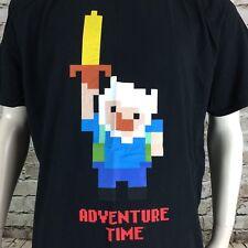 Adventure Time Finn Pixel 8-Bit Black Men's 2XL Short Sleeve T-Shirt