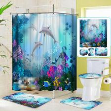 4pcs Dolphin Bathroom Set Shower Curtain Toilet Seat Cover Bath Mat Non-Slip