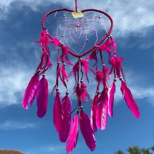 New Large Hot Pink Love Heart Dream Catcher Native American Wall Hanging Mobile