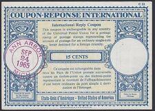 U.S., 1965-66. Int'l Reply Coupon 15c (4), Various