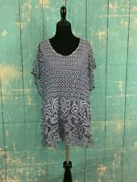 Saks Fifth Avenue Short Sleeves Lace Eyelet Gray Lined Top Tunic  M