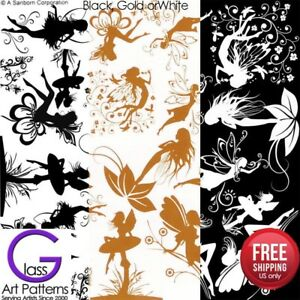 Fairy Fusing Glass Decal Ceramic Waterslide Enamel-Black-White Gold Fairies