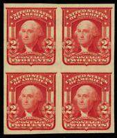 320, Mint 2¢ Superb LH/NH Imperforate Block of Four Cat $100.00 - Stuart Katz