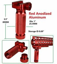 Red Aluminum Stuby Vertical Foregrip Forward Fore Handle Grip Knurled Storage