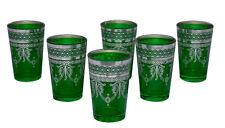 Moroccan Tea Glasses Espresso Shot Glass Handmade Turkish 6-pack Green