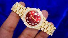 Rolex Ladies Midsize President 18K Yellow Gold Quickset Full Diamonds 8 Carats