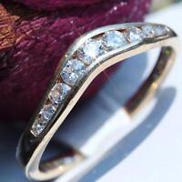 14k yellow gold wedding band ring 0.60ct diamond size 7.5 vintage 2.1gr N2341H