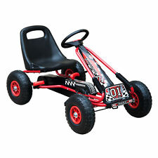 HOMCOM Pedal Go Cart Air Inflatable Wheels Seat Kids Children Race Ride On Red