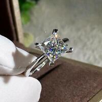 3.00 Ct Princess Cut Diamond Solitaire Engagement Ring 14k White Gold Finish