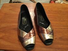 MARKS AND SPENCER METALIC PEEP TOE SHOES SIZE 6.5....