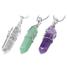 Women Natural Crystal Quartz Healing Point Chakra Stone Pendant For Necklace RDR