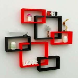 Intersect wall shelf,wooden wall shelf set of 6 (Red & Black)