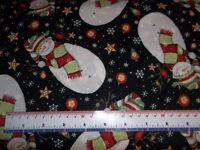 Susan Winget Stay Warm Toss Snowman Snowflake Black CP58633 Cotton Fabric YARD