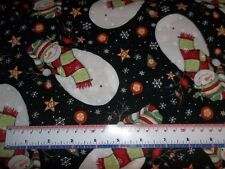 Susan Winget Stay Warm Toss Snowman Snowflake Black CP58633 Cotton Fabric YARD