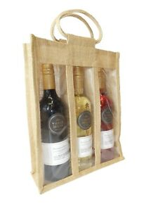 Natural Jute 3 Wine Bottle Gift Bag with Handles - Eco Friendly Gift Packaging